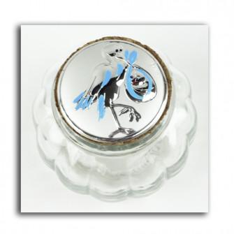 Barattolo in Vetro e Tappo in Sughero Cicogna Blu Bimbo Nascita Confettata Segnaposto