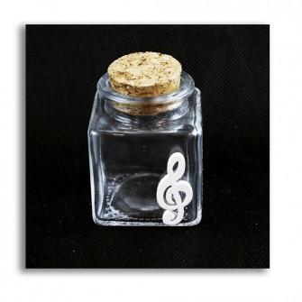 Barattolo in Vetro Icona in Legno Bianco Chiave di Violino Sol Musica Porta Confetti