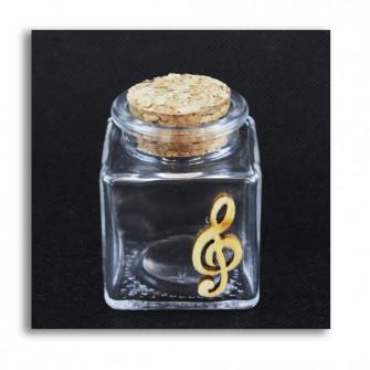 Barattolo in Vetro Icona in Legno Chiave di Violino Sol Musica Porta Confetti