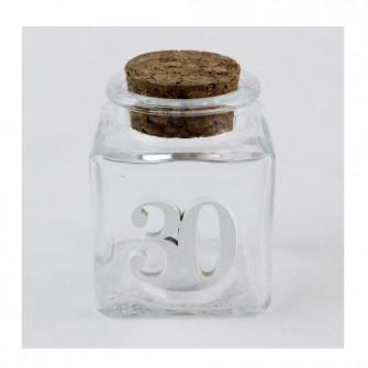 Barattolo in Vetro per 30 Trentesimo Compleanno Bianco Anniversario di Nozze Porta Confetti Spezie