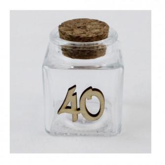 Barattolo in Vetro per 40 Quarantesimo Compleanno Anniversario di Nozze Porta Confetti Spezie