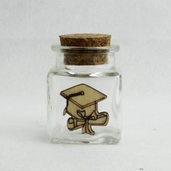 Barattolo in Vetro con Cappello e Pergamena Laurea in Legno Porta Confetti Spezie