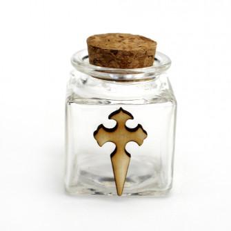 Barattolo in Vetro Quadrato con Crocifisso Croce Crocetta Portaconfetti Confettata