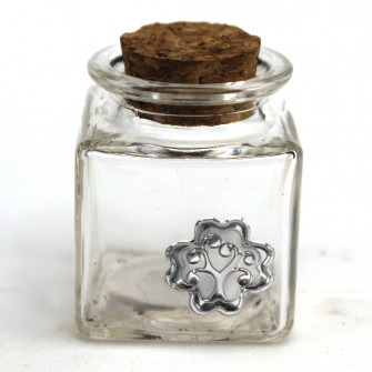 Barattolo in Vetro Quadrato con Quadrifoglio Albero della Vita Matrimonio Battesimo Comunione Portaconfetti Confettata