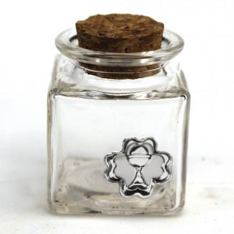 Barattolo in Vetro Quadrato con Quadrifoglio Calice della Prima Comunione Portaconfetti Confettata