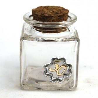 Barattolo in Vetro Quadrato con Quadrifoglio e 50 Anniversario Nozze D'oro Cinquantesimo Compleanno Portaconfetti Confettata