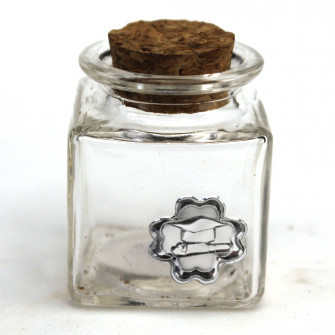 Barattolo in Vetro Quadrato con Quadrifoglio Laurea Cappello Tocco Pergamena Tesi Portaconfetti Confettata