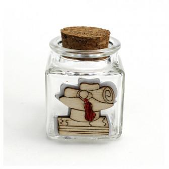 Barattolo in vetro Quadrifoglio in legno Portafortuna Laurea Cappello Tocco Pergamena Confettata Portaconfetti DIY