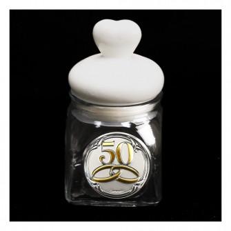 Barattolo in vetro Shabby Chic con Tappo Cuore in Ceramica Fedi 50 Anniversario D'oro Cinquantesimo Matrimonio Portaconfetti