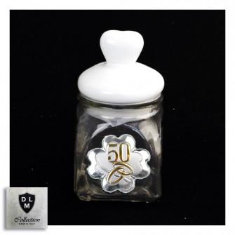 Barattolo in vetro Shabby Chic Tappo Cuore in Ceramica Quadrifoglio Coppia Fedi 50 Anniversario D'oro Cinquantesimo Portaconfetti