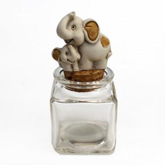 Barattolo Quadrato in Vetro con Mamma Elefante Elefantino Cucciolo Battesimo Nascita Comunione Portaconfetti Segnaposto