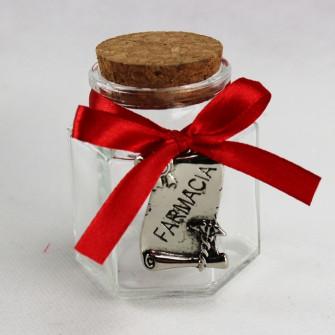 Barattolo Esagonale in vetro Pergamena Laurea in Farmacia