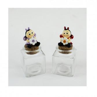 Barattolo Quadrato in vetro con Coccinella Colorata Fiore Margherita Portaconfetti
