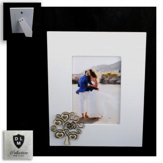 Bomboniera Portafoto Cornice con Albero della Vita e 25 Anniversario Nozze d'Argento Venticinquesimo in legno Shabby Chic Quadretto