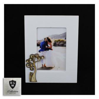 Bomboniera Portafoto Cornice con Coppia Sposi e Albero della Vita Life Tree in legno Shabby Chic Quadretto