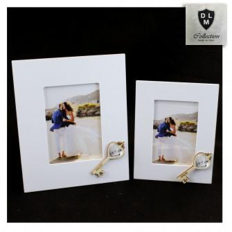 Bomboniera Portafoto Cornice Quadretto Chiave Coppia Fedi in legno Shabby Chic Nozze Matrimonio