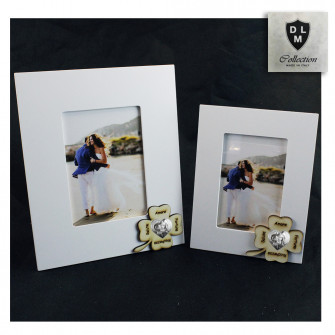 Bomboniera Portafoto Cornice Quadretto Cuore Quadrifoglio Portafortuna Madonna e Bambino Shabby Chic in legno