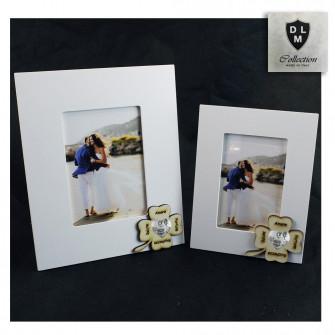 Bomboniera Portafoto Cornice Quadretto Cuore Quadrifoglio Portafortuna per Battesimo Shabby Chic in legno