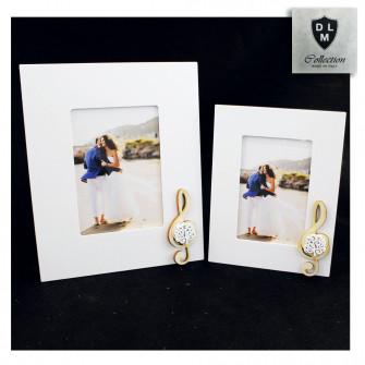 Bomboniera Portafoto Cornice Quadretto Legno Chiave di Violino Cuore con Albero della Vita Matrimonio Nozze Comunione