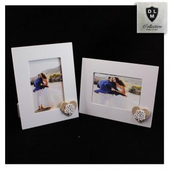 Bomboniera Portafoto Cornice Quadretto Legno con Cuore Albero della Vita Bianco Matrimonio Nozze