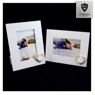 Bomboniera Portafoto Cornice Quadretto Legno con Cuore e Conchiglia Bianca Capasanta Cammino di Santiago Mare