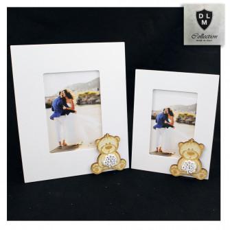 Bomboniera Portafoto Cornice Quadretto Legno Orso Orsetto con Albero della Vita Matrimonio Nozze Comunione