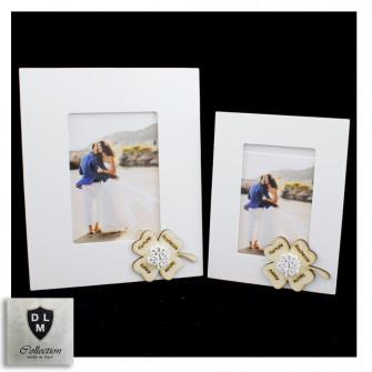 Bomboniera Portafoto Cornice Quadretto Quadrifoglio Portafortuna Albero della Vita Shabby Chic in legno