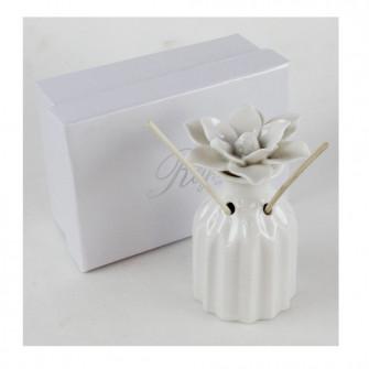 Bomboniera Profumatore in ceramica bianca con Fiore Diffusore Profumo per Ambienti