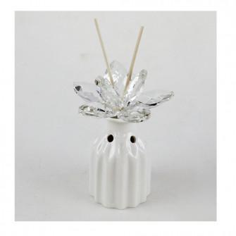 Bomboniera Profumatore in ceramica con Fiore in Cristallo Diffusore Profumo per Ambienti