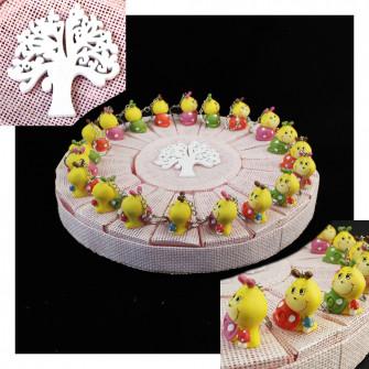Bomboniere a Torta Rosa Bimba Albero della Vita Calamita Magnete Lumaca Chioccia Chiocciola Compleanno Confettata