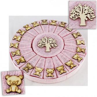Bomboniere a Torta Rosa Bimba Albero della Vita Orso Orsetto in Legno Nascita Compleanno Confettata