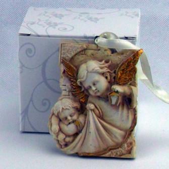 Quadretto icona angelo custode in resina