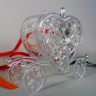 Scatolina carrozza con fiore in cristallo e punto luce