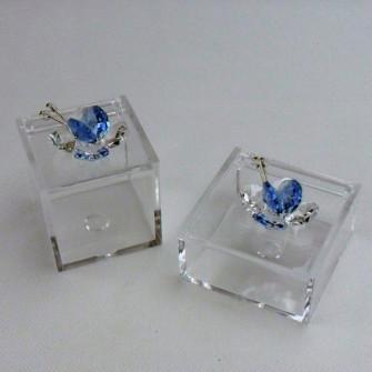 Scatolina con farfalla in cristallo vari colori