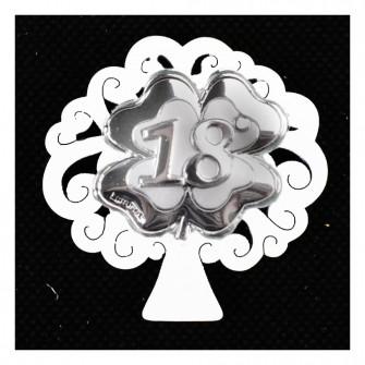 Calamita Magnete Albero della Vita in legno Quadrifoglio Portafortuna 18 Diciottesimo Compleanno Segnaposto Confettata