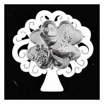Calamita Magnete Albero della Vita in legno Quadrifoglio Portafortuna Calice della Prima Comunione Segnaposto Confettata