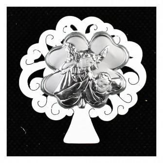Calamita Magnete Albero della Vita in legno Quadrifoglio Portafortuna e Angelo Angioletto Neonato Nascita Segnaposto Confettata