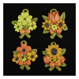 Calamita Magnete Bouquet Mazzo Fiori Margherita Girasole Tulipano Quadrifoglio con Fiocco Segnaposto Confettata