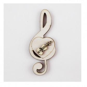 Calamita Magnete Cuore Chiave di Sol Violino in legno Musica Segnaposto