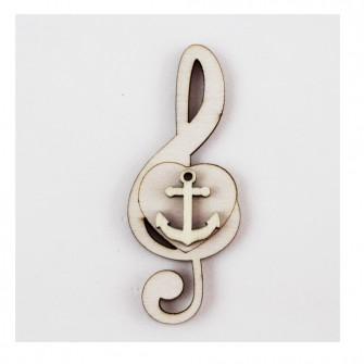 Calamita Magnete Cuore Chiave di Sol Violino Musica Ancora Marinaio Mare in legno Segnaposto