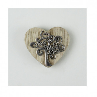 Calamita Magnete Cuore in legno con Albero della Vita Grande Segnaposto
