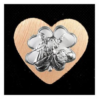 Calamita Magnete Cuore in legno Quadrifoglio Portafortuna Angelo Angioletto Neonato Nascita Segnaposto Pensierino Confettata