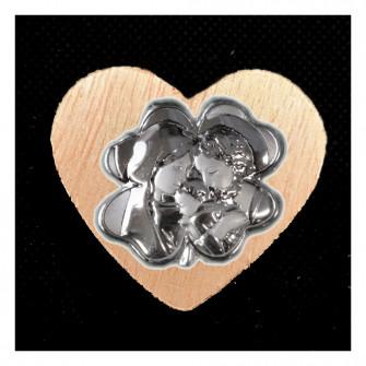Calamita Magnete Cuore in legno Quadrifoglio Portafortuna Sacra Famiglia Nozze Nascita Segnaposto Pensierino Confettata