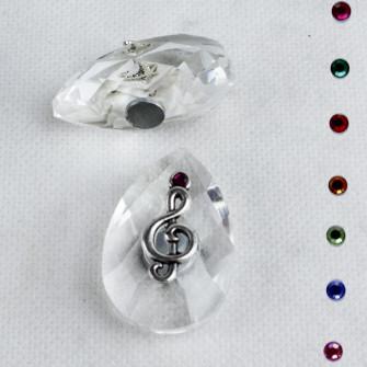 Calamita Magnete in Cristallo con Chiave di Violino Sol Musica Confettata Segnaposto