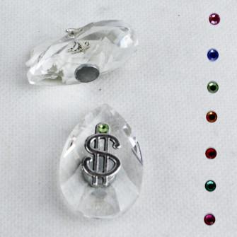 Calamita Magnete in Cristallo con Dollaro Dollari Soldi Portafortuna Confettata Segnaposto