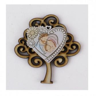 Calamita Magnete in Legno con Cuore Madonna e Bambino Gesù  in resina Segnaposto Confettata