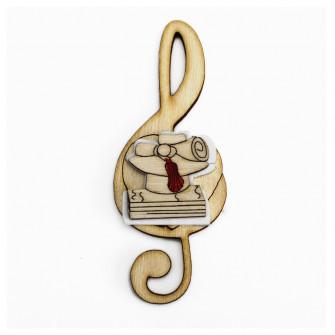 Calamita Magnete Quadrifoglio Chiave di Sol Violino Laurea Cappello Tocco Pergamena in legno Musica Segnaposto