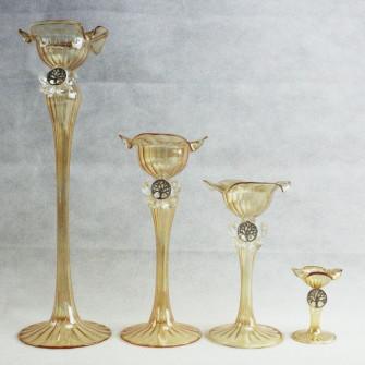Candeliere in vetro soffiato con Fiore in Cristallo e Albero della Vita