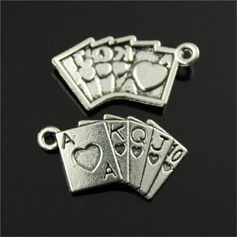 Ciondolo Ciondoli Charm Charms Mazzo Carte da Gioco Poker Confettata Fai da Te