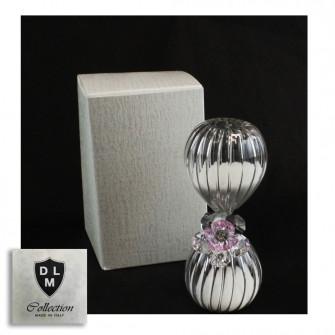 Clessidra in vetro con Fiore in cristallo Tema Tempo per Nozze Comunione Cresima